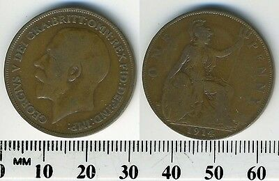 GREAT BRITAIN 1914 - 1 Penny  Large Coin - King George V - WWI Mintage