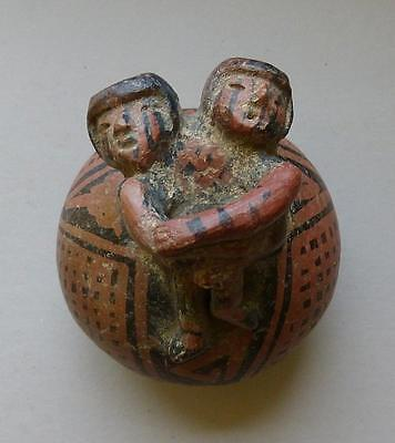 Pre-Columbian Narino Painted Pottery Bottle With Erotic Figures - Columbia