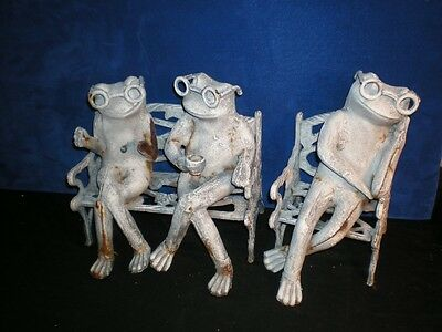 RARE vintage Cast Iron FROG Glasses Sitting on Bench Coffee Sleeping Reading SET