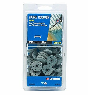 Zenith DOME WASHER EPDM Polycarbonate Fibrerglass Roofing Watertight 22mm- 50pcs