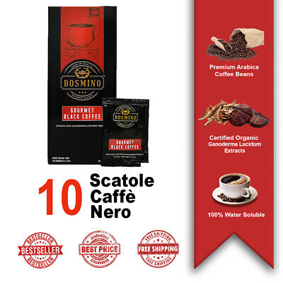10 Scatole Organo Gold Black Coffee Caffè Nero Ganoderma Lucidum