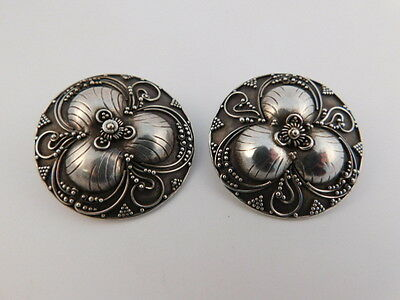 Ornate Filigree Sterling Silver Earrings Round Shield Artisan Handcrafted Beads