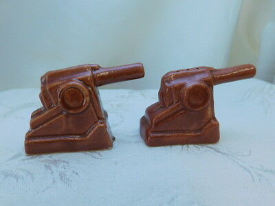Niloak Pottery Rare Cannon Salt And Pepper Shakers Ww2 Figural