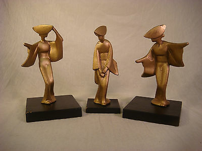 Mid Century Cast Iron Geisha Figurines Gold Japanese Sculpture W Stands Kalde
