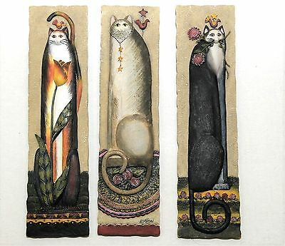 E. Smithson Cat Plaques Wall Hangings Folk Art Collectible 3D Pictures Set of 3