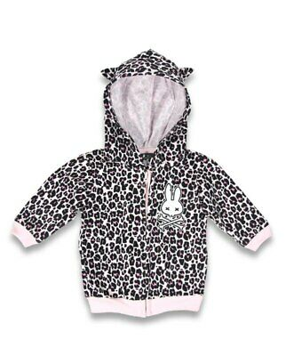 Six Bunnies Pink Leopard Print Baby Hoodie Jacket Rockabilly Retro Shower Gift