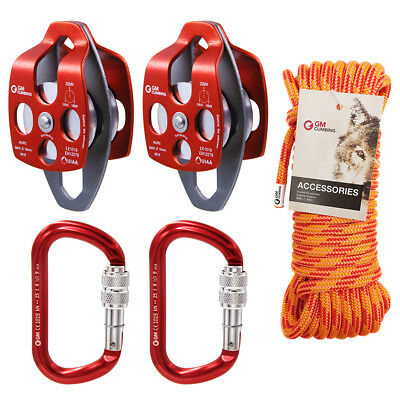 """5:1 Block and Tackle Crevasse Rescue Kit Twin Pulley 7/16"""" Double Braid Rig Rope"""