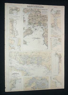 1857 Fullarton Map Ports & Harbors of England Royal Illustrated Atlas Dartmouth