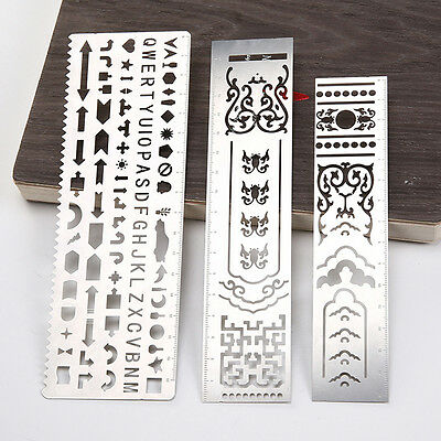 Steel Alphabet Graphic Template Ruler DIY Drawing Planner Stencil Eyeable Nice