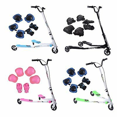 Large Kids 3 Wheel Swing Tri Motion Slider Winged Push Foldable Scooter Drifter