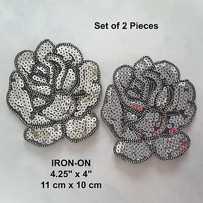 Silver Roses Sequined Flower Embroidered Patch Purple Rose Iron-on Gold Applique