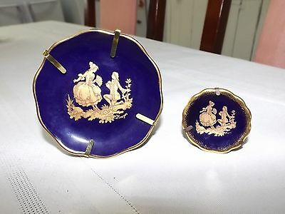 2 x Limoges porcelain Blue and Gold plate with stand