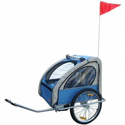 Kids Children Bicycle Bike Cargo Trailer with All-weather Canopy Folding Blue
