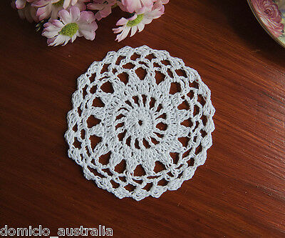 Pure Cotton Yarn Hand Crochet Lace Doily Placemat Round 12CM White FP01