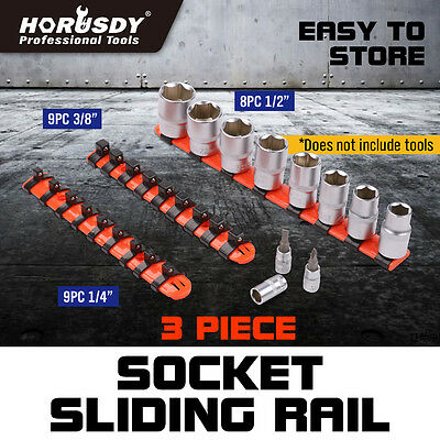 "26Pc Mixed  Socket Rail Storage Set 1/2"" 3/8"" 1/4"" Drive Holder Grip Organiser"
