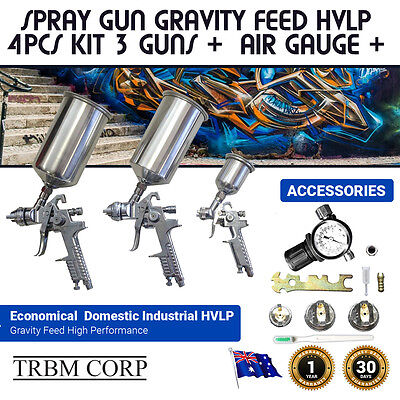 NEW Gravity Feed Spray Paint Guns Set HVLP  3 Sprayers 1.7, 1.4, 0.8 mm + Gauge