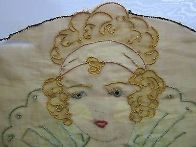 Antique Hand-Embroidered Princess Good Witch Flapper Gold 100% Cotton Unique