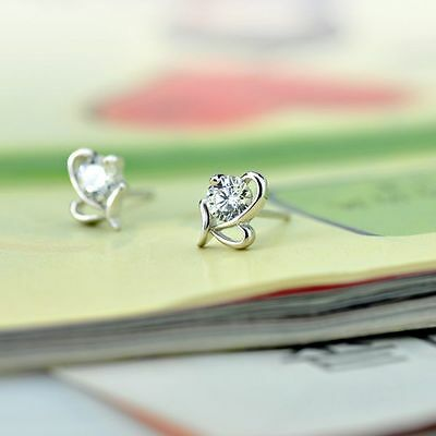 Crystal Jewelry Lovely Ladies Small Heart Shape Silver Plated Earrings Stud