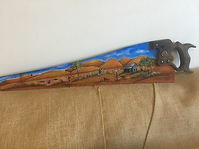 Hand Painted Folk Art Disston Hand Saw Australain Outback.