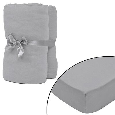 2 pcs Bed Fitted Sheet Cover 100% Cotton Jersey 90x190-100x200 cm Grey Bedding