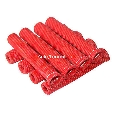 "8X Spark Plug Boots Cover 6"" Engine Turbo Cable Heat Shield Sleeves  8 CYL Red"