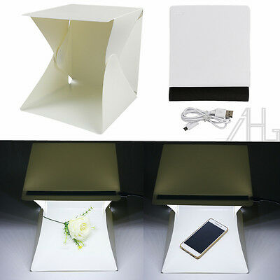 LED Light Room Photo Studio Photography Light Tent Cube Soft Box & 2 Backdrops