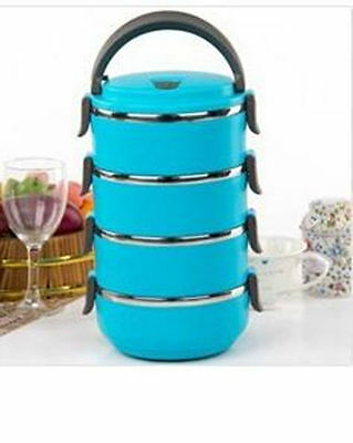 Food Stainless Steel Container Handle Thermal Insulated Lunch Box 1-4 Layers New