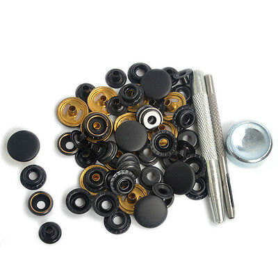 17mm 15 Sets Matte Black Sewing Button Poppers/Snap Fasteners Press Stud Kit UK
