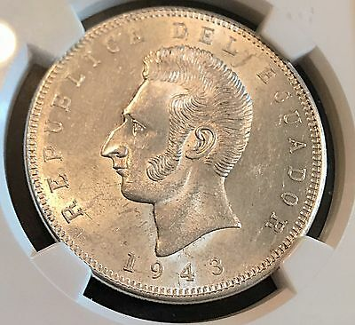 Ecuador 1943 Silver 5 Sucres NGC Certified Mint State 25g