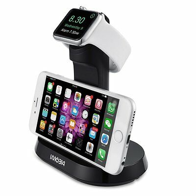 Apple Watch iWatch Docking Charging Station iPhone Holder Stand Charger Black