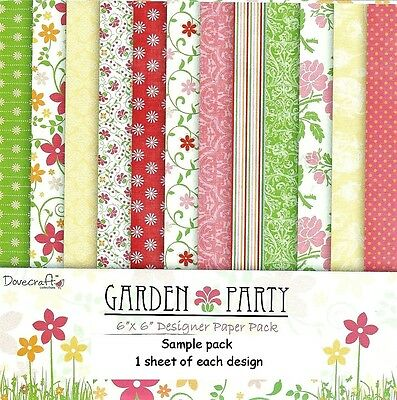 Dovecraft Gartenparty Papier 6 X 6 Muster Packung - Je 1 Design - 12 Sheets