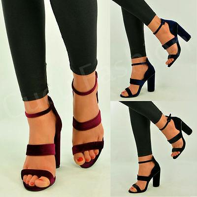 New Womens Strappy Ankle Sandals High Block Heel Chunky Velvet Shoes Size Uk 3-8