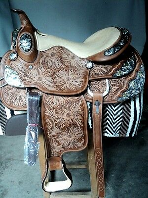 """new 16""""beautiful hand crafted silver western show leather horse quality saddle"""