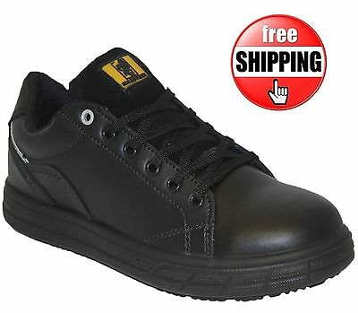 Mens Black Leather Lightweight Steel Toe Cap Safety Ankle Shoes Trainers Work Sz