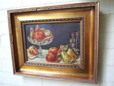 Antique Still Life ''Apple & Pears'' Oil Painting Signed Australian Art C.1900