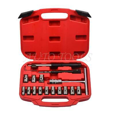 17 PC Diesel Injector Seat Cutter Cleaner Tool Set Carbon Remover