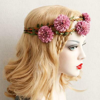 Bridal Boho Large Pink Flower Headband Garland Beach Wedding Crown Headpiece