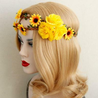 Bridal Boho Yellow Flower Headband Garland Beach Wedding Crown Headpiece
