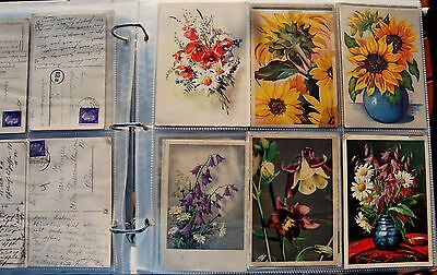Flowers Big Collection Of 101 Postcards, Almost All With Hitler Stamps, Must See