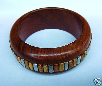 Vintage Brown Wood, Brass, Copper & Steel Tribal Statement Bangle Bracelet
