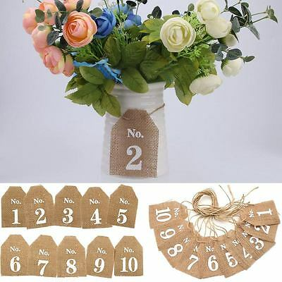 1-20 Hessian Jute Burlap Banner Table Numbers Table Signs Wedding Decoration