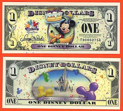 "One 2009 ""T"" Birthday Cake Mickey & Pluto ""CELEBRATE YOU!"" Disney Dollars Dollar"
