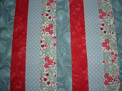"8 Jelly Roll Strips  Red & Grey   44"" X 2.5""  100% Cotton Patchwork/quilting Ray"
