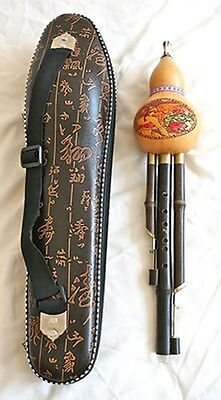 Chinese Gourd flute (Hulusi) in case, wonderful sound. 2 drones.