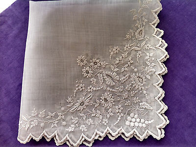 Antique 19thc.  Whitework Embroidery Handkerchief