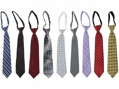 "Boys Patterned Long Neck Zipper Tie 9 Colors Wedding Holiday Size L 12"" & XL 14"""