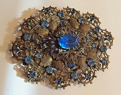 Pretty, large Edwardian Czech pressed metal & blue glass oval brooch