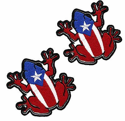 2 MINI COQUI Puerto Rico Flag Embroidered Patch 000263