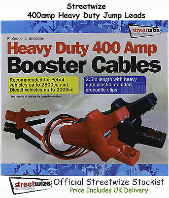 Streetwize Heavy Duty Booster Cables (Jump Leads) 400 Amp Engines up to 2500cc