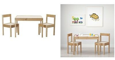 Ikea LATT Children's Table with 2 Chairs Wooden Pine Wood Kids Furniture Set